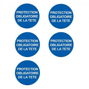 Autocollants Protection obligatoire de la tête - Lot de 5