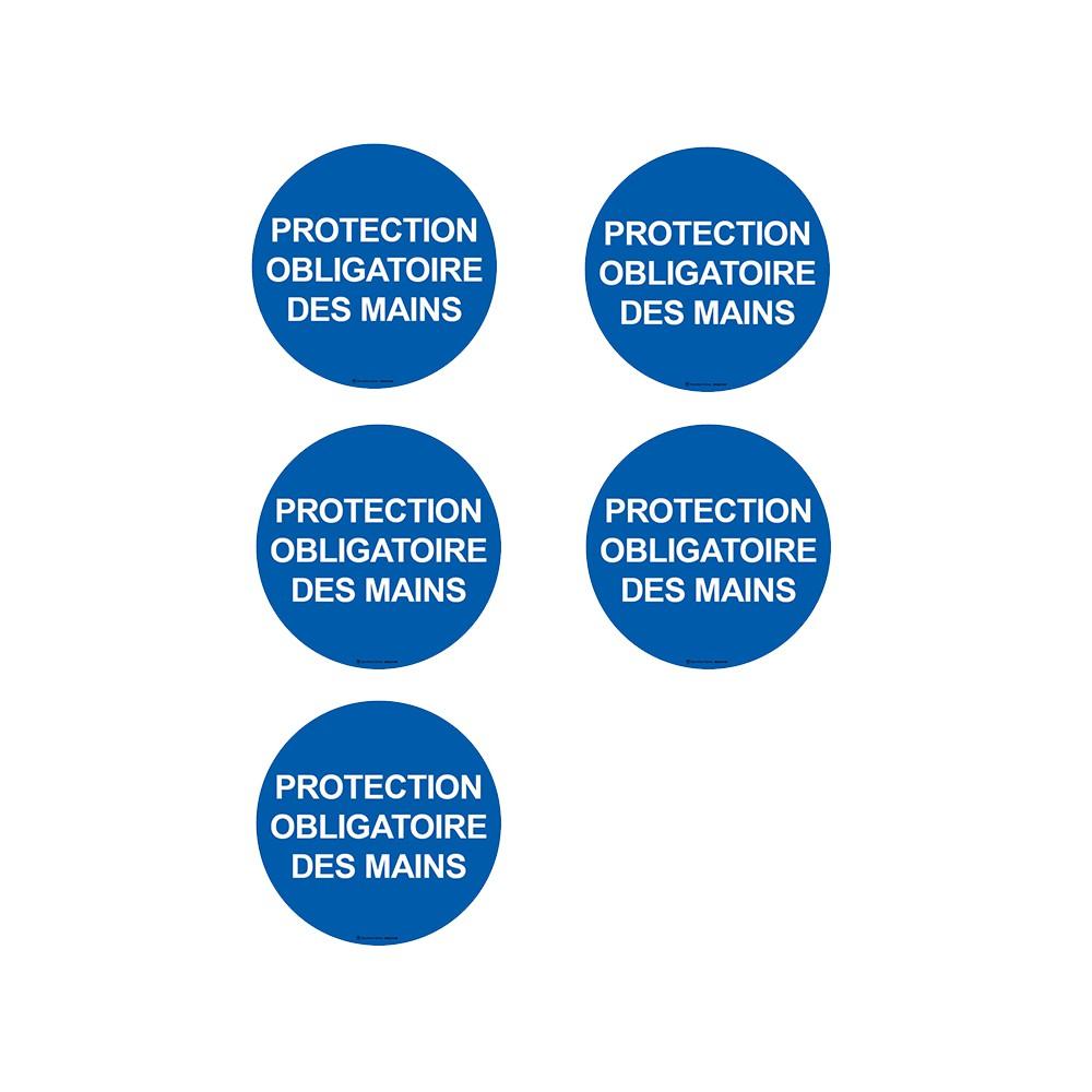 Autocollants Protection obligatoire des mains - Lot de 5