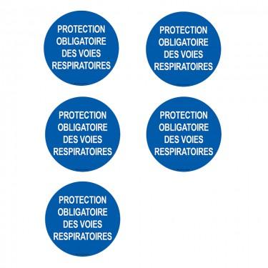 Autocollants Protection obligatoire des voies respiratoires - Lot de 5