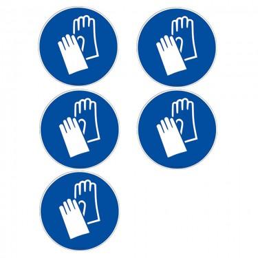 Autocollants Gants de protection obligatoires ISO 7010 M009 - Lot de 5
