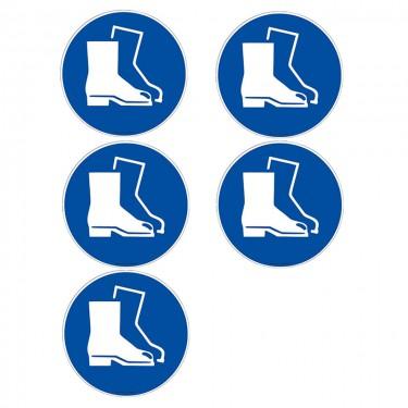 Autocollants Obligation port de chaussures de sécurité ISO 7010 M008 - Lot de 5