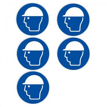 Autocollants Casque de protection obligatoire ISO 7010 M014 - Lot de 5