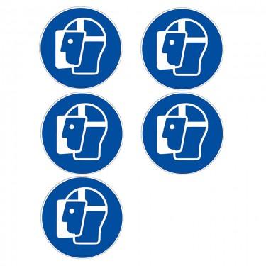 Autocollants Visière de protection obligatoire ISO 7010 M013 - Lot de 5