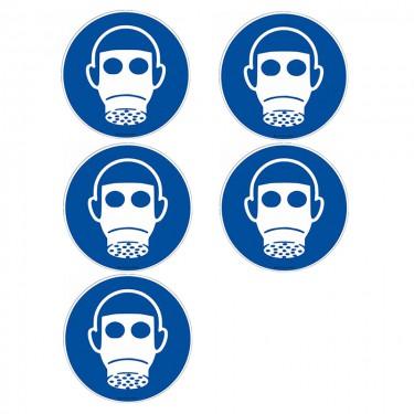 Autocollants Protection des voies respiratoires obligatoire ISO 7010 M017 - Lot de 5