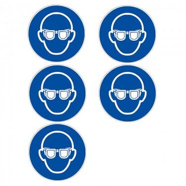 Autocollants Lunettes de protection obligatoires ISO 7010 M004 - Lot de 5