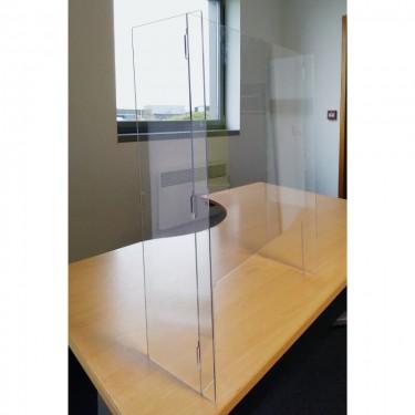 Hygiaphone de protection en Plexiglas vertical avec rebords
