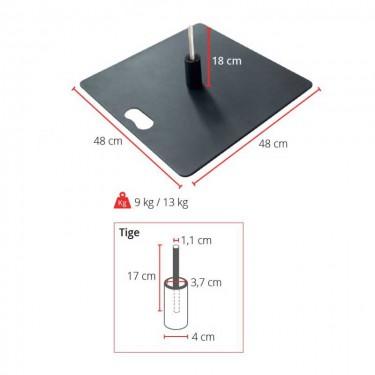 Pied embase métallique pour drapeau plume