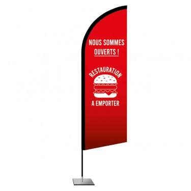 Drapeau plume Restauration à emporter - Fast-food