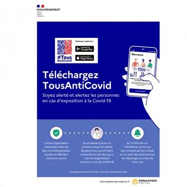 Affiche adhésive Application Tous AntiCovid