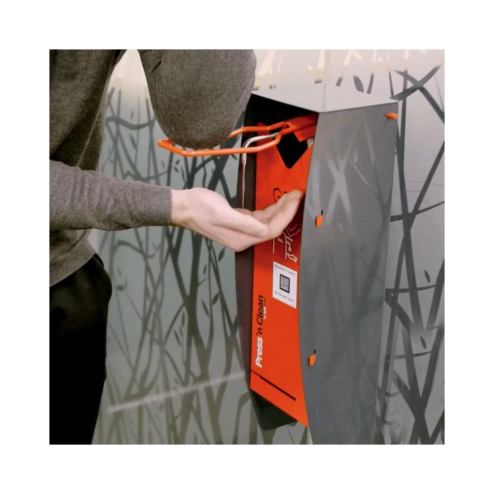 Borne de gel hydroalcoolique PMR avec commande au coude - Press'n Clean