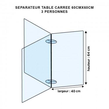 Séparateur de table carrée en plexiglas - MODULO