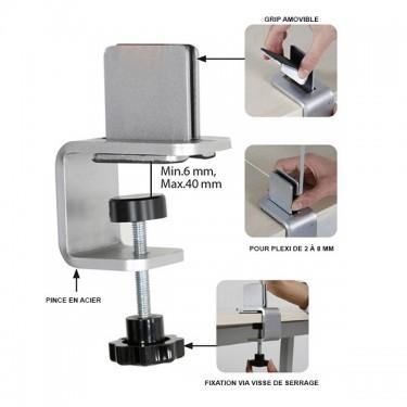 Pince réglable en métal pour paroi de séparation de table