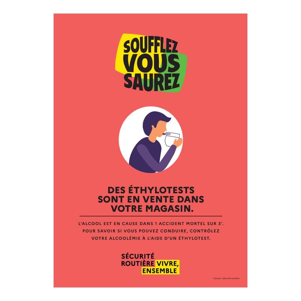 Affiche Vente d'éthylotests obligatoires en magasin et débits de boissons alcoolisées