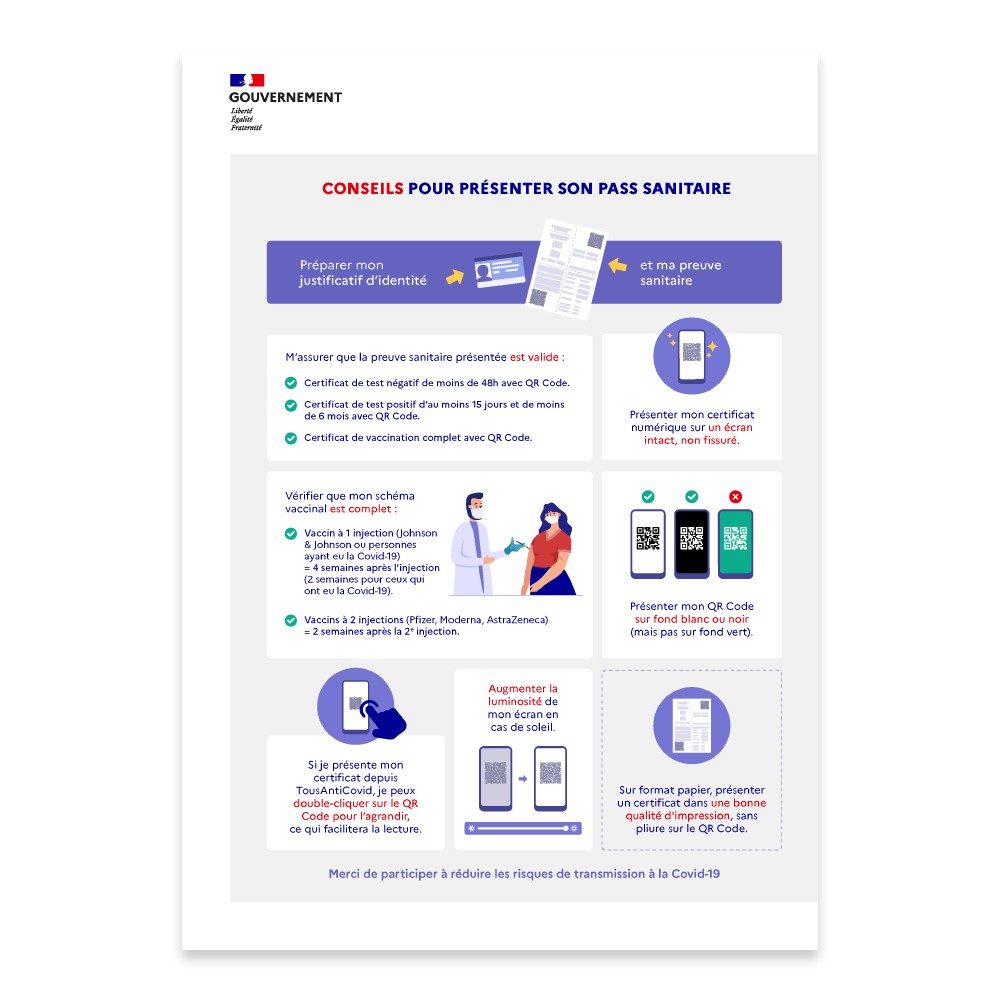 Affiche Conseils pour présenter son Pass Sanitaire