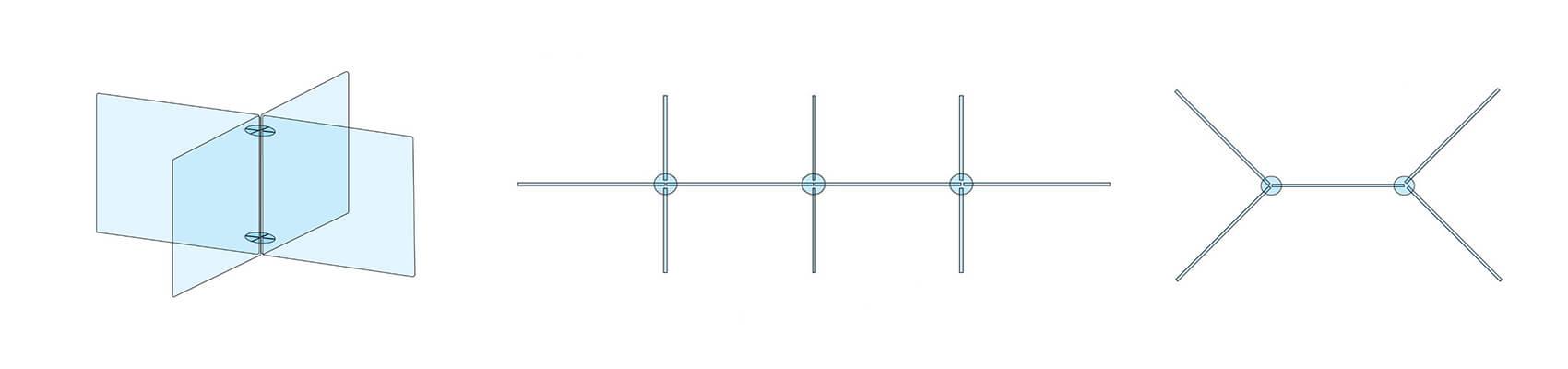 Exemples de configuration paroi de protection pour table et bureau
